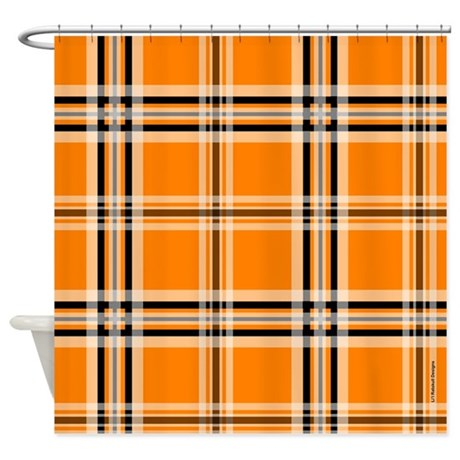 Orange And Black Plaid Shower Curtain By Rainbowhot
