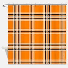 Orange and Black Plaid Shower Curtain