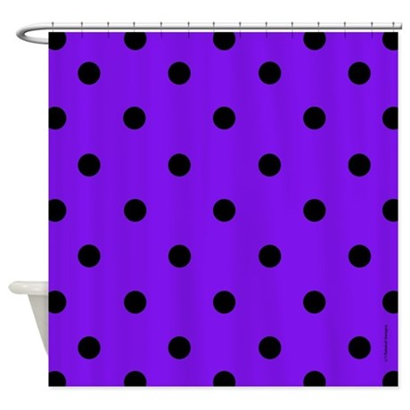 Purple and Black Polka Dot Shower Curtain by rainbowhot