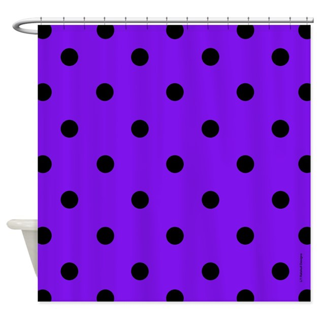 purple and black polka dot shower curtain by rainbowhot. Black Bedroom Furniture Sets. Home Design Ideas