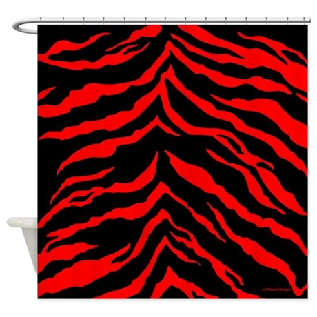 Red and Black Tiger Stripes Shower Curtain