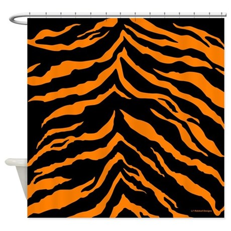 Orange And Black Tiger Stripes Shower Curtain By Rainbowhot