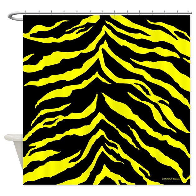Yellow and Black Tiger Stripes Shower Curtain by rainbowhot