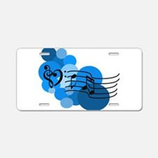Blue Music Clefs Heart Aluminum License Plate