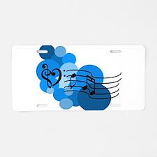 Blue Music Clefs Heart Aluminum License Plate