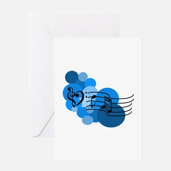 Blue Music Clefs Heart Greeting Card