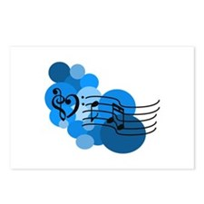 Blue Music Clefs Heart Postcards (Package of 8)