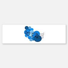 Blue Music Clefs Heart Bumper Bumper Sticker