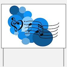 Blue Music Clefs Heart Yard Sign