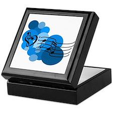 Blue Music Clefs Heart Keepsake Box