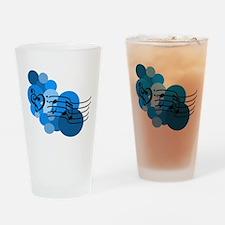 Blue Music Clefs Heart Drinking Glass
