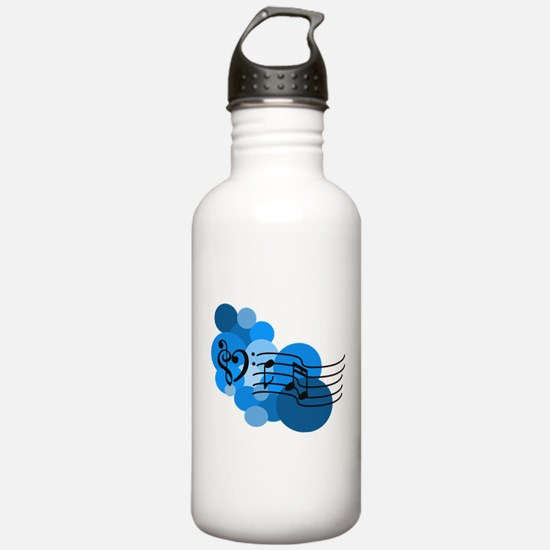 Blue Music Clefs Heart Water Bottle