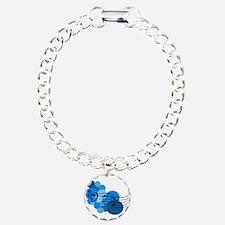 Blue Music Clefs Heart Charm Bracelet, One Charm