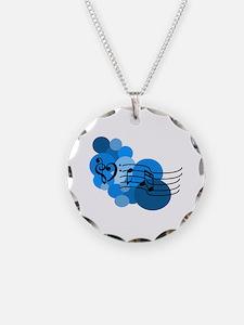 Blue Music Clefs Heart Necklace