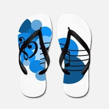 Blue Music Clefs Heart Flip Flops