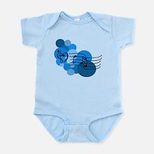 Blue Music Clefs Heart Infant Bodysuit