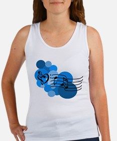 Blue Music Clefs Heart Women's Tank Top