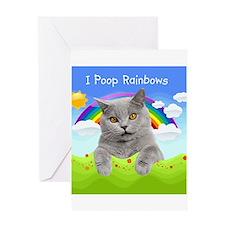 I Poop Rainbows Cat Greeting Card