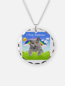 I Poop Rainbows Cat Necklace