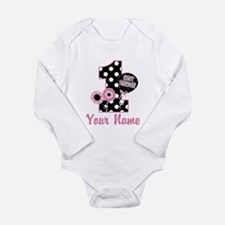 1st Birthday Pink and Black D Long Sleeve Infant B