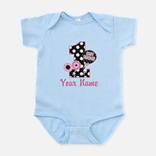 1st Birthday Pink and Black D Infant Bodysuit