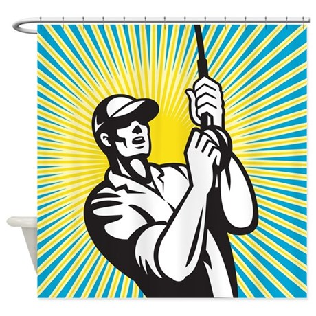 Fly Fisherman Fishing Shower Curtain