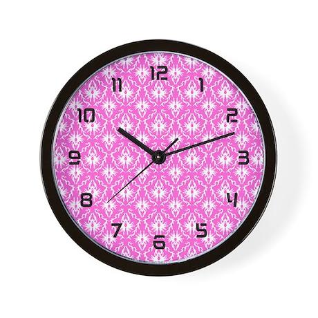 Bright Pink Damask Pattern Wall Clock