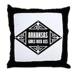 Arkansas Girls Kick Ass Throw Pillow