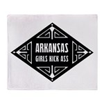 Arkansas Girls Kick Ass Throw Blanket