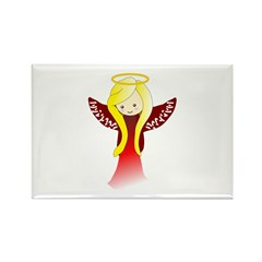 Cute Angel in Red Rectangle Magnet (10 pack)