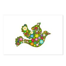 Green Floral Dove Postcards (Package of 8)
