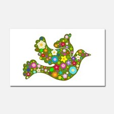 Green Floral Dove Car Magnet 20 x 12