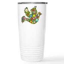 Green Floral Dove Travel Mug