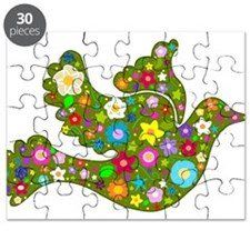 Green Floral Dove Puzzle