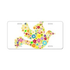 Yellow Floral Dove Aluminum License Plate