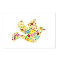 Yellow Floral Dove Postcards (Package of 8)