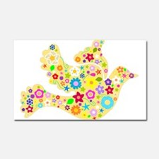 Yellow Floral Dove Car Magnet 20 x 12