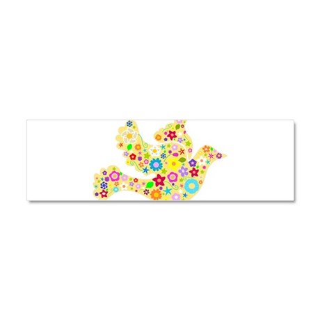 Yellow Floral Dove Car Magnet 10 x 3