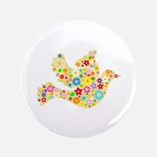 """Yellow Floral Dove 3.5"""" Button (100 pack)"""