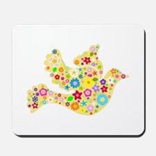 Yellow Floral Dove Mousepad