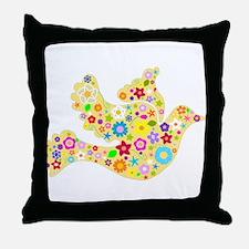 Yellow Floral Dove Throw Pillow