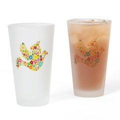 Yellow Floral Dove Drinking Glass