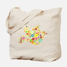Yellow Floral Dove Tote Bag
