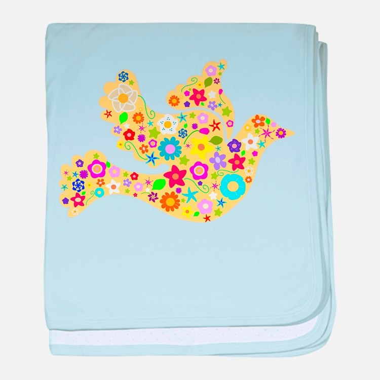 Yellow Floral Dove baby blanket