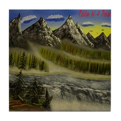 Mountain River Falls Decor Tile Coaster
