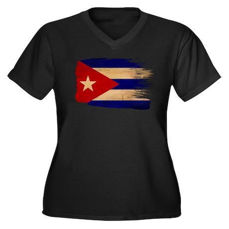 Cuba Flag Women's Plus Size V-Neck Dark T-Shirt