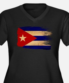 Cuba Flag Women's Plus Size V-Neck Dark T-Shirt