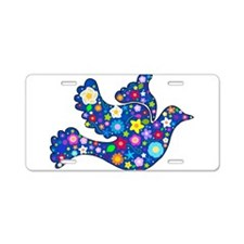 Navy Blue Dove of Flowers Aluminum License Plate