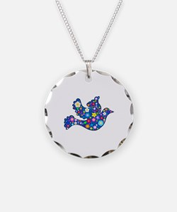 Navy Blue Dove of Flowers Necklace