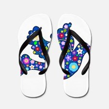 Navy Blue Dove of Flowers Flip Flops